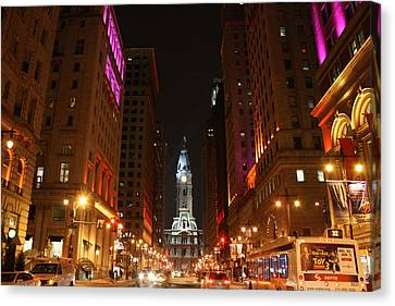 Philadelphia City Lights Canvas Print by Christopher Woods