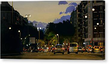 City Lights Oil On Canvas Canvas Print by Joan Longas