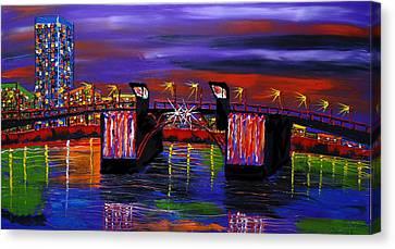 City Lights Over Morrison Bridge 6 Canvas Print by Portland Art Creations