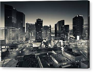 City Lit Up At Dusk, Citycenter Las Canvas Print by Panoramic Images