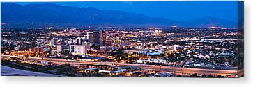 City Lit Up At Dusk, Tucson, Pima Canvas Print by Panoramic Images