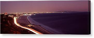 City Lit Up At Night, Highway 101 Canvas Print