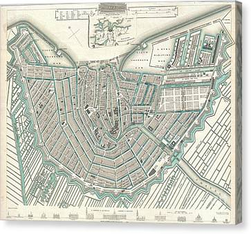 City Map Or Plan Of Amsterdam Canvas Print by Paul Fearn