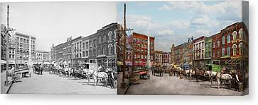 City - Norfolk Va - Hardware And Liquor - 1905 - Side By Side Canvas Print by Mike Savad