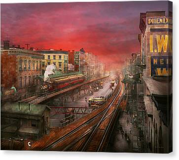 Bowery Canvas Print - City - Ny - Rush Hour Traffic - 1900 by Mike Savad