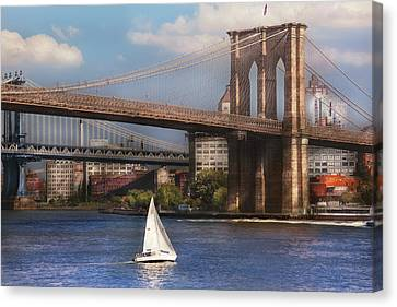 Personalized Canvas Print - City - Ny - Sailing Under The Brooklyn Bridge by Mike Savad