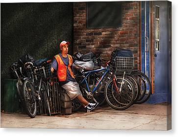 City - Ny - Waiting For The Next Delivery Canvas Print by Mike Savad