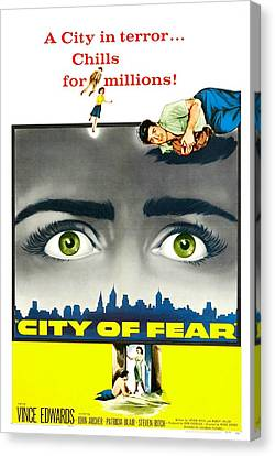 1950s Poster Art Canvas Print - City Of Fear, Us Poster, Vince Edwards by Everett