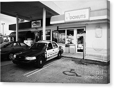 City Of Florida City Police Patrol Squad Car Parked Outside Dunkin Donuts Shop Usa Canvas Print by Joe Fox