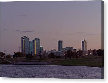 City Of Fort Worth After Sunset Canvas Print