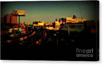 Canvas Print featuring the photograph City Of Gold - New York City Sunset With Water Towers by Miriam Danar