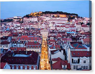 City Of Lisbon At Dusk In Portugal Canvas Print