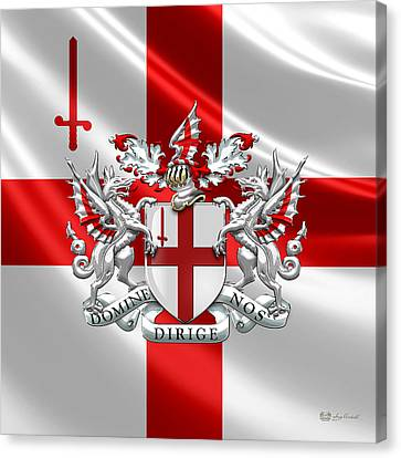 Canvas Print featuring the digital art City Of London - Coat Of Arms Over Flag  by Serge Averbukh