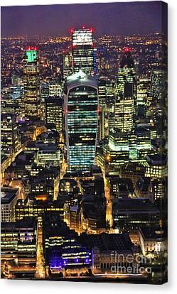 City Of London Skyline At Night Canvas Print by Jasna Buncic