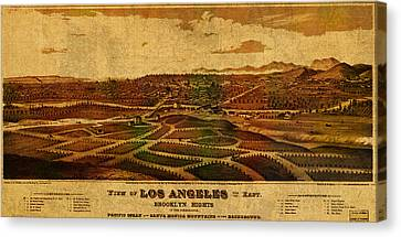 City Of Los Angeles California Vintage Birds Eye View City Street Map 1877 Canvas Print by Design Turnpike