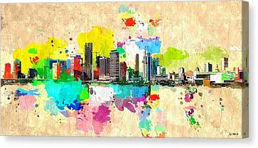 City Of Miami Grunge Canvas Print