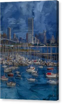 City Of Milwaukee Along Lake Michigan Canvas Print by Jack Zulli