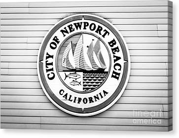 City Of Newport Beach Sign Black And White Picture Canvas Print by Paul Velgos
