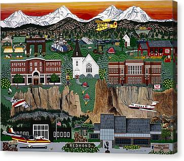 Canvas Print featuring the painting City Of Redmond by Jennifer Lake