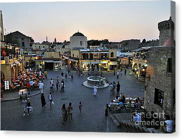 Ippokratous Square At The City Of Rhodes Canvas Print by George Atsametakis