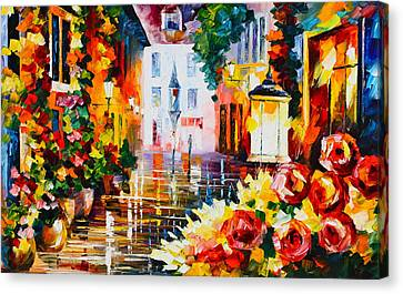 City Of Roses Canvas Print by Leonid Afremov