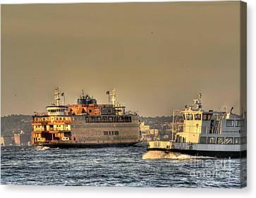 Staten Island Ferry Canvas Print - City Of Ships by David Bearden