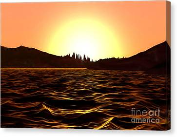 Canvas Print featuring the painting City Of The Sun by Pet Serrano