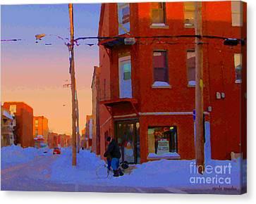 City Of Verdun Winter Sunset Pierrette Patates Art Of Montreal Street Scenes Carole Spandau Canvas Print by Carole Spandau
