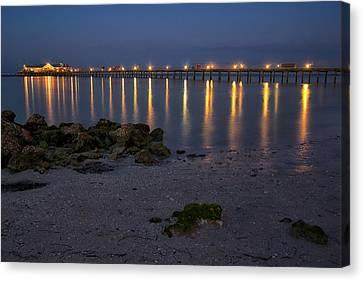 City Pier At Night Canvas Print by Darylann Leonard Photography