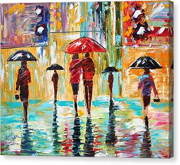 City Rain Canvas Print by Karen Tarlton
