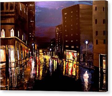 City Rain Canvas Print by Mark Moore