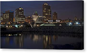 Canvas Print featuring the photograph City Reflection by Deborah Klubertanz