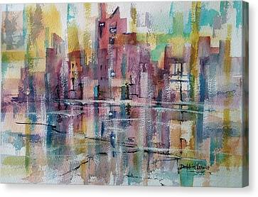 City Reflections Canvas Print by Debbie Lewis