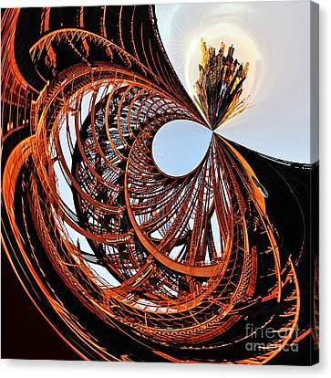 City Roller Coaster In The Sky Canvas Print by Kaye Menner