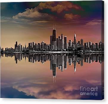 City Skyline Dusk Canvas Print by Bedros Awak