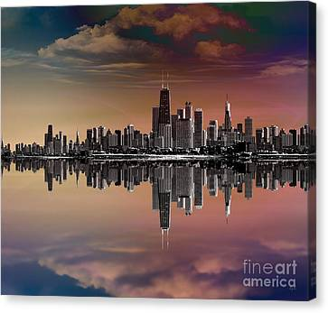 City Skyline Dusk Canvas Print by Bedros Awak