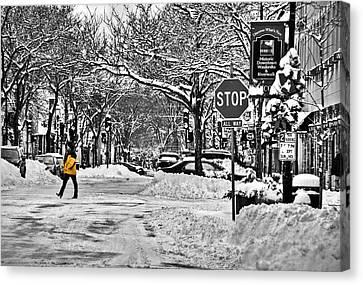 City Snowstorm Canvas Print by Deborah Klubertanz