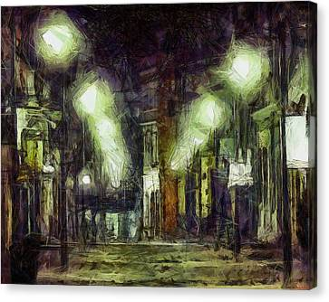 Canvas Print featuring the drawing City Street by Joe Misrasi