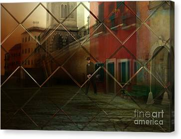 Canvas Print featuring the digital art City Street by Liane Wright