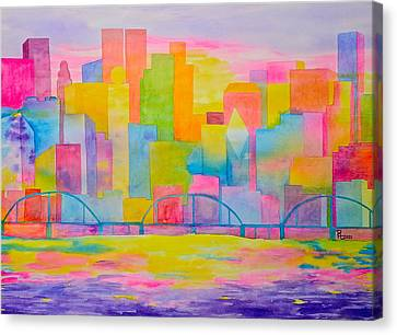 City To Dye For Canvas Print by Rhonda Leonard