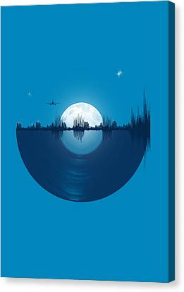 Moon Canvas Print - City Tunes by Neelanjana  Bandyopadhyay