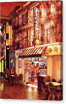 City - Vegas - Ny - Broadway Burger Canvas Print by Mike Savad