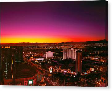 Night-scape Canvas Print - City - Vegas - Ny - Sunrise Over The City by Mike Savad