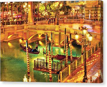 City - Vegas - Venetian - The Venetian At Night Canvas Print by Mike Savad