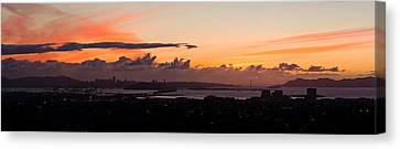 City View At Dusk, Emeryville, Oakland Canvas Print by Panoramic Images