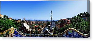 City Viewed From Park Guell, Barcelona Canvas Print by Panoramic Images