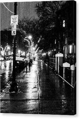Canvas Print featuring the photograph City Walk In The Rain by Mike Ste Marie