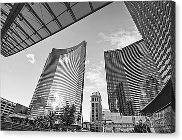 Wide Angled Glass Mirror Canvas Print - Citycenter - View Of The Vdara Hotel And Spa Located In Citycenter In Las Vegas  by Jamie Pham