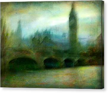 Canvas Print featuring the photograph Cityscape #31. Blue Angel's Dream by Alfredo Gonzalez