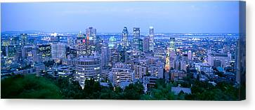 Cityscape At Dusk, Montreal, Quebec Canvas Print by Panoramic Images